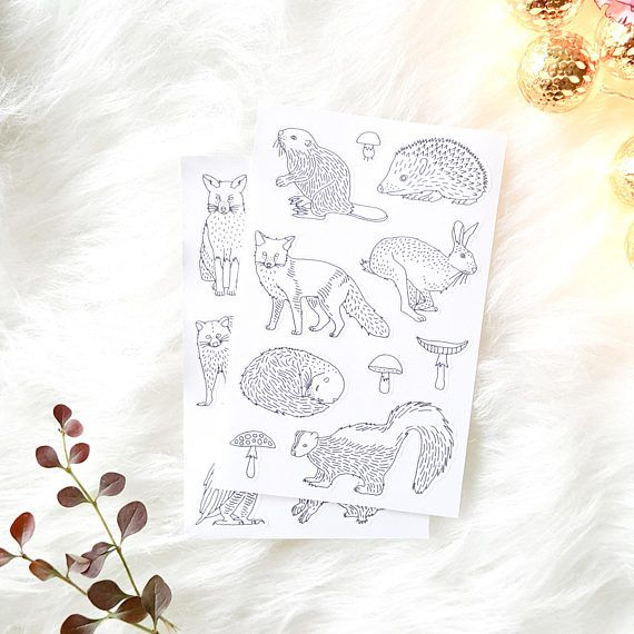 woodland animal stickers to color in - adult coloring planner decals - party favors forest animals decals - animal adult coloring page by AnnaGrundulsDesign