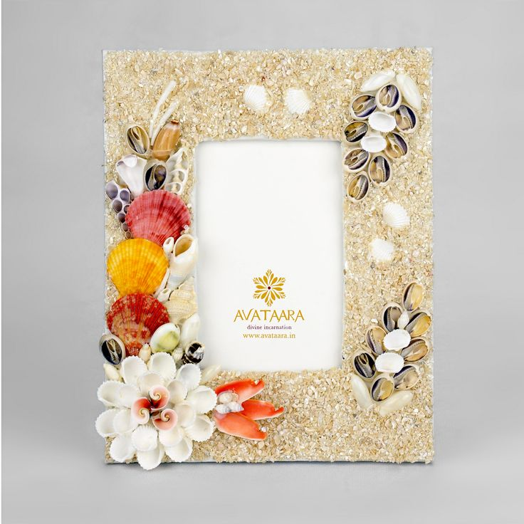 handcrafted sea shell photo frame