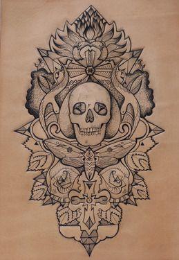 Saatchi Online Artist Punctured Artefact; Mixed Media Leather, Skull  moth Tattooed leather art #art