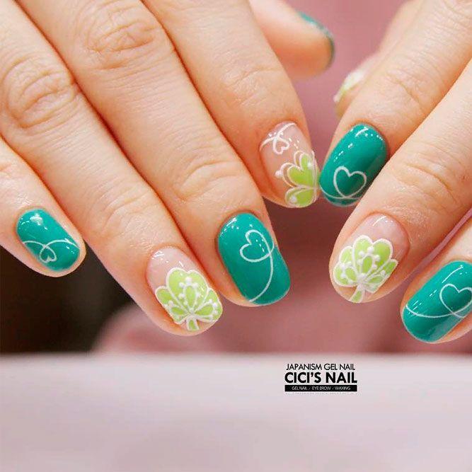 Abstracted Shamrock Nail Art #abstractednailart #greennails ★ We have collected many greenish and so lovely St Patricks…