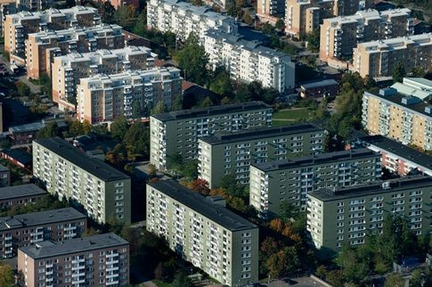 A suburb to Stockholm, the capital of Sweden. This one is called Rinkeby and is sited north of Stockholm city.