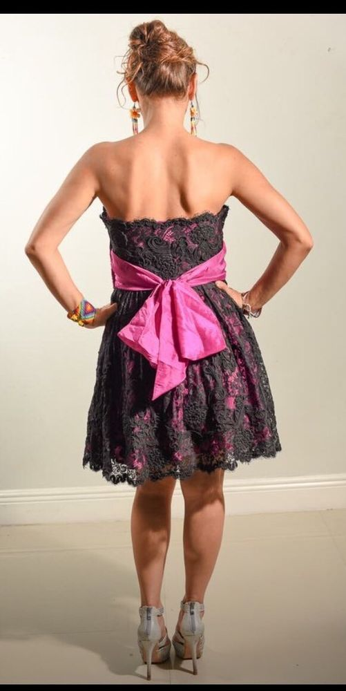 15f90c8534 Betsey Johnson Evening Dress Lace Black Pink Prom Bow Cocktail Size ...