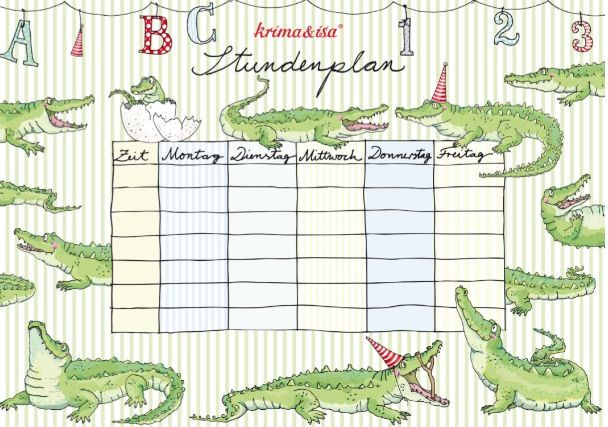 First day! School schedule, timetable, printable PDF, Stundenplan by Krima & Isa, green with crocodiles, download: http://www.krima-isa.com/download/2014_Schulanfang.pdf