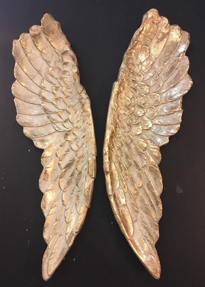 X Large Pair Of Stone Effect Gilded Angel Wings Wall Hangings   102cm High