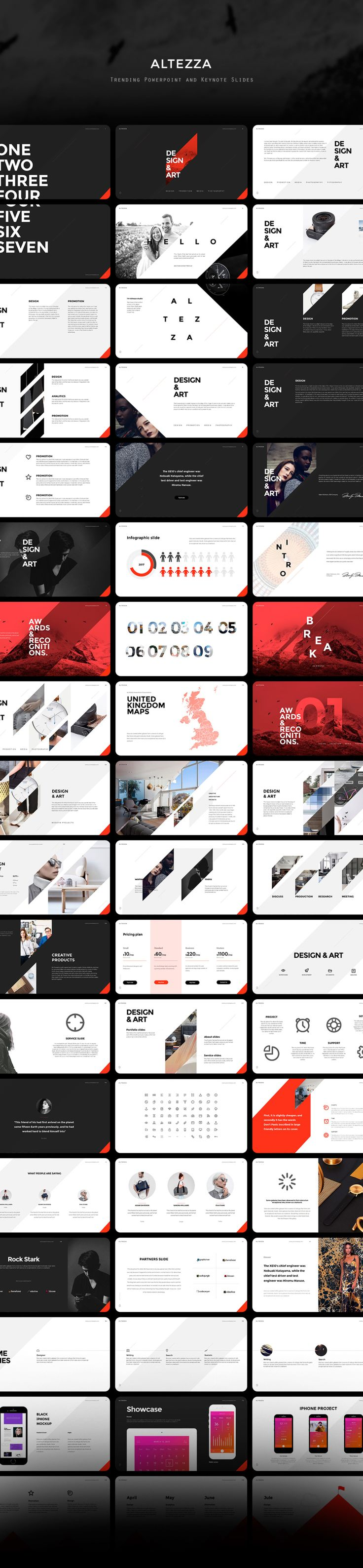 ALTEZZA is a stunning multipurpose template that meets the latest design trends to suit your needs. Included are 110 Powepoint and 110 Keynote trending slides, 12 categories, 250+ vector icons, one cl