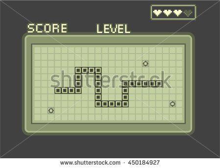 Classic retro snake game asset - stock vector