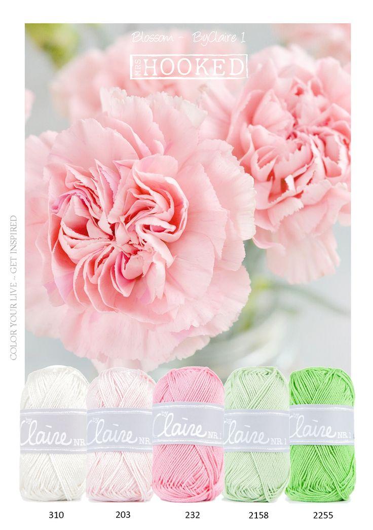 Prachtige,  kleurencombinatie van zachte tinten ByClaire garen. Roze, zacht en fris groen, een mooie combinatie voor een baby dekentje. In samenwerking met durable zijn de garens van ByClaire ontwikkelt. Een groot palet van vrolijke frisse kleuren. Geschikt voor pen 2.5 - 3