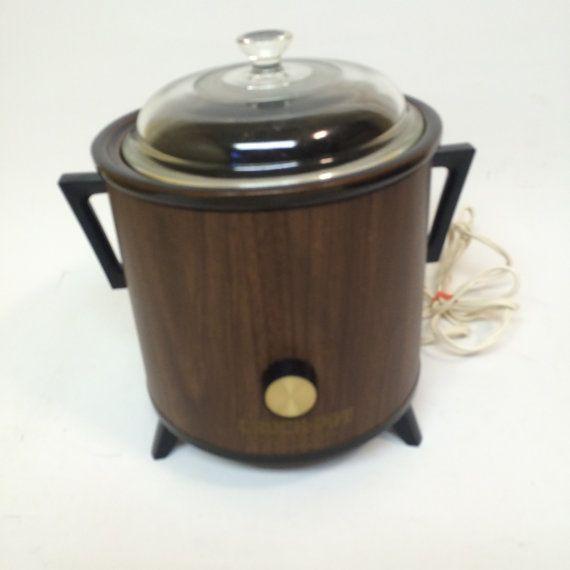 Vintage Rival Crock Pot Slow Cooker Server Wood Grain by OldnStuff