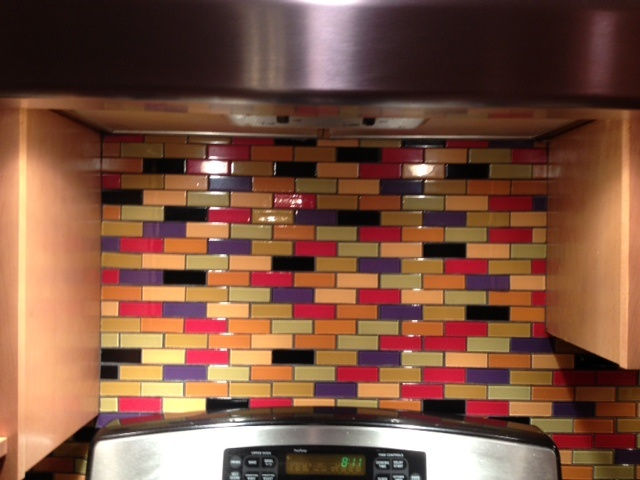 Love This Custom Designed Multi Colored Subway Tile Backsplash Bright Gl Mosaic Tiles Make Kitchen Fun And Unique