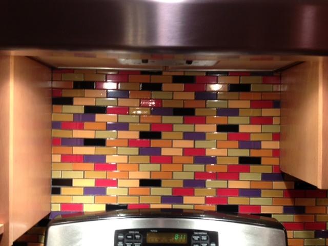 Love this custom designed multi colored subway tile for Multi color kitchen ideas