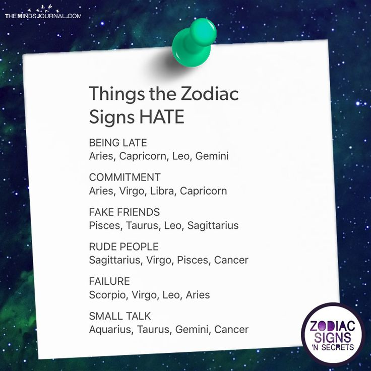 Things The Zodiac Signs Hate - https://themindsjournal.com/things-zodiac-signs-hate/