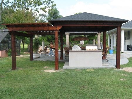 tin roof outdoor shelter | wood patio cover / pergola combination ... - Roofing Ideas For Patio