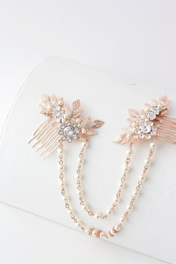 Rose Gold Hair Chain Wedding Headpiece Pearl by LuluSplendor