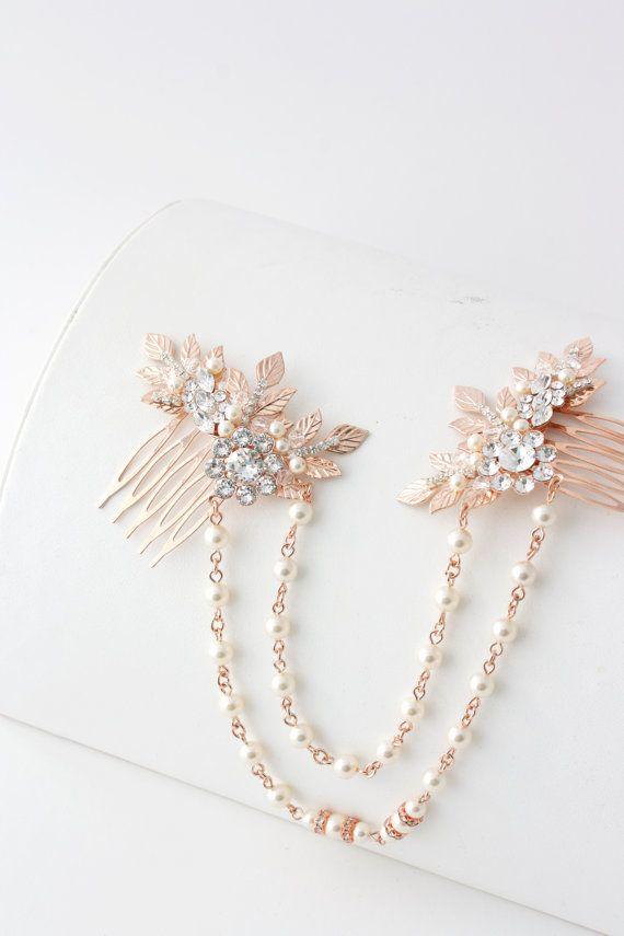 Rose Gold Hair Chain Wedding Headpiece Pearl di LuluSplendor