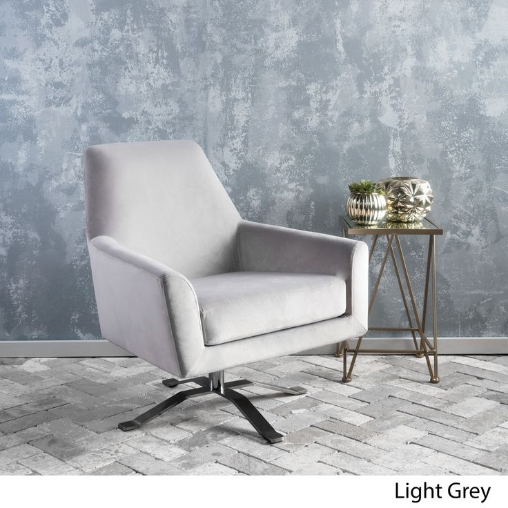 Ailis Velvet Fabric Swivel Club Chair By Christopher Knight Home (Light  Grey) Part 84