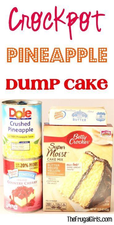 Crockpot Pineapple Dump Cake Recipe! ~ at TheFrugalGirls.com ~ this easy dessert…