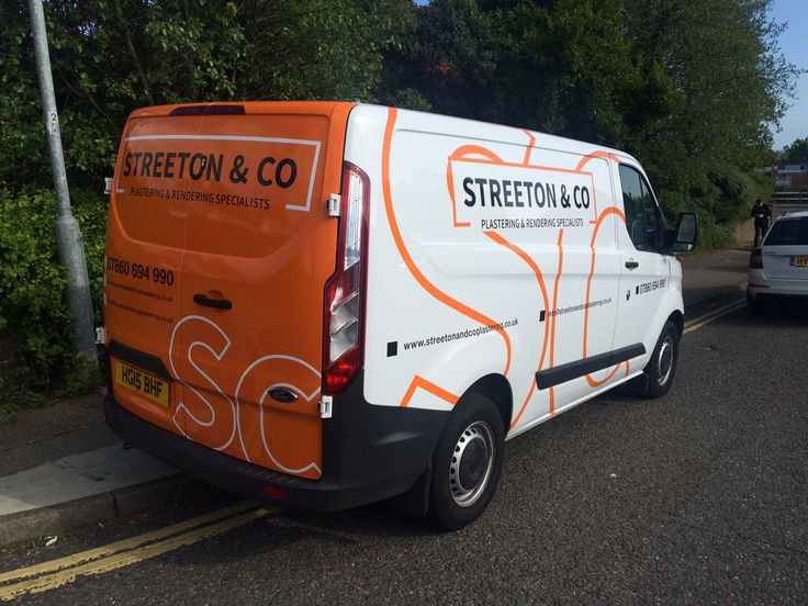 Streeton & Co van with orange vinyl full wrap designed, produced and fitted by The Sussex Sign Company
