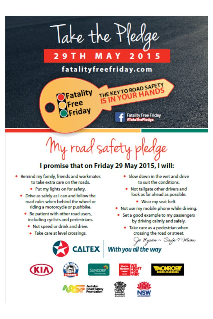 Here is Safe-T-Hand's signed Road Safety Pledge for Friday 29 May 2015. Take the pledge too: http://www.fatalityfreefriday.com/individual/#.VUxpUaQfrIU #TakeThePledge #roadsafety #fatalityfreefriday #safethand #education