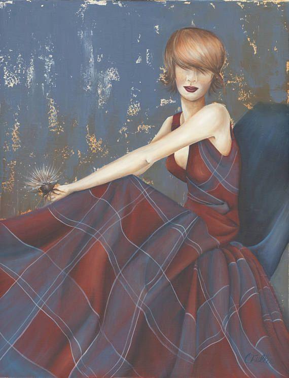 Woman in tartan dress Acrylic painting Original artwork Red