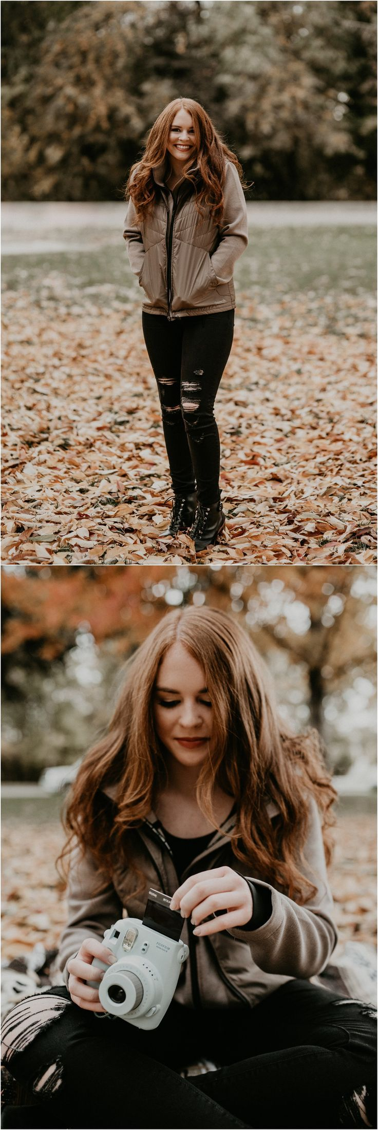 Boise Senior Photographer // Makayla Madden Photography // Eagle High Senior //  Red Head // Fall Senior Pics // Fall Senior Picture Outfit and Location Ideas and Inspiration // Urban Senior Pictures // Polaroids // Polaroid Senior Pictures