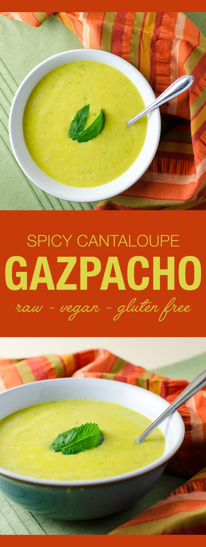 Spicy Cantaloupe Gazpacho - this vegan and gluten free cold soup recipe features a pleasing mix of zesty and refreshing flavors | VeggiePrimer.com