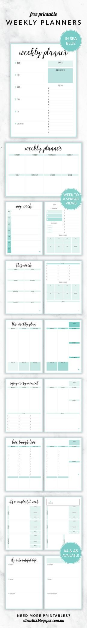 Free Printable Irma Weekly Planners in the color Sea by Eliza Ellis. With nine different styles, they're the perfect organizing solution for mums, entrepreneurs, bloggers, etsy sellers, professionals, WAHM's, SAHM's, students and moms. Available in 6 colors and both A4 and A5 sizes. Includes week to a page planners as well as week to a spread and two page planners. Enjoy!