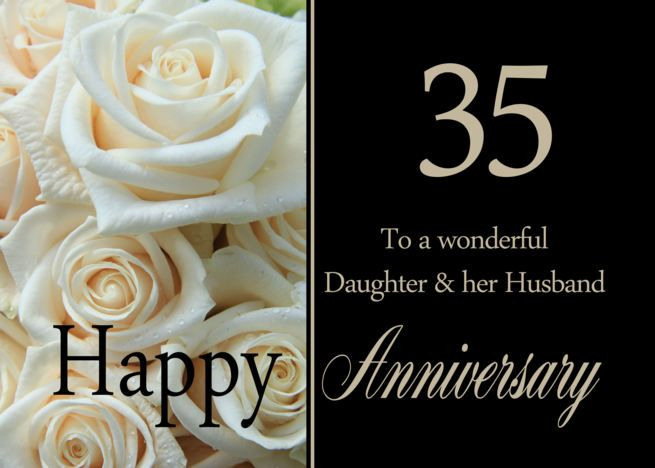 35th Anniversary Card For Daughter Husband Pale Pink Roses Card Ad Ad Car Anniversary Cards For Husband 50th Anniversary Cards 20th Anniversary Cards