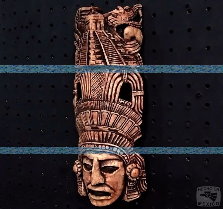 Mayan Maya Aztec Head Mexico Inca Mask Stone Statue Sculpture Sun Calendar Art
