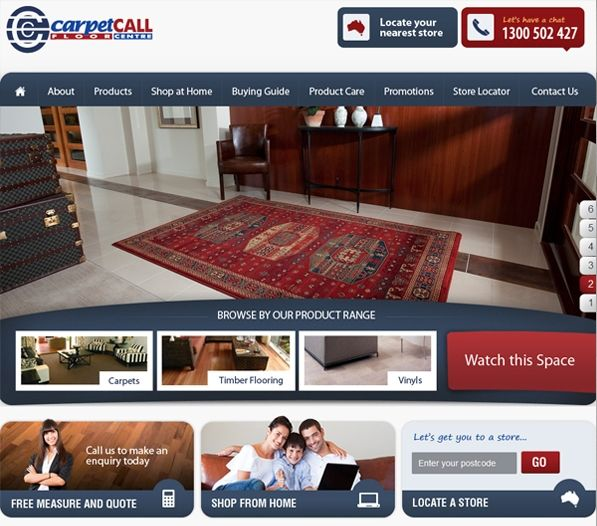 Carpet Call is one the largest independently owned flooring retailers in Australia offering a wide range of flooring options, including carpet, timber, laminate, vinyl & floating floors, as well as rugs. Exa has created an easy to use website for Carpet Call clearly highlighting the company's objective. Exa has incorporated Social Media along with its patented SEO system to increase online awareness and generate potential leads and sales for the company