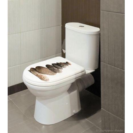 Décorer son abattant de toilette avec style. Ces galets sont parfaits pour donner aux WC un côté nature et zen. Les stickers pour WC créent la surprise et décorent de façon originale votre salle de bain, vos toilettes et peuvent se mettre partout ailleurs sur des objets.
