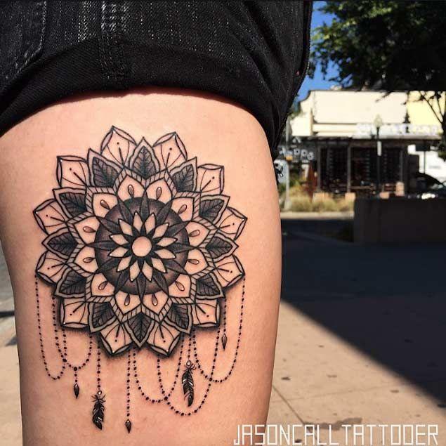 Ornate Mandala Thigh Tattoo by Jason Call | — Tattoos ON ...