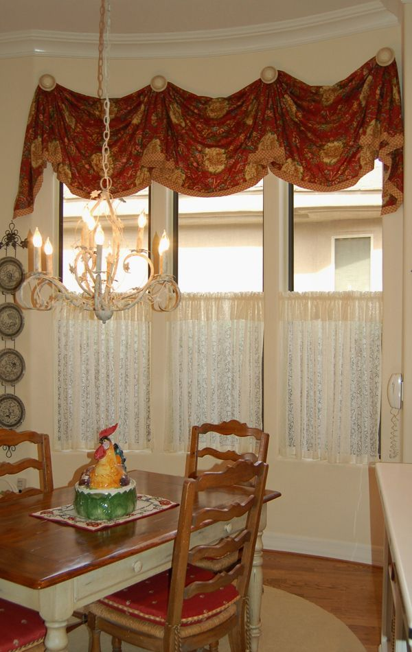 Kitchen valance with caf curtain  Home decoration DIY  Kitchen curtains Rustic curtains