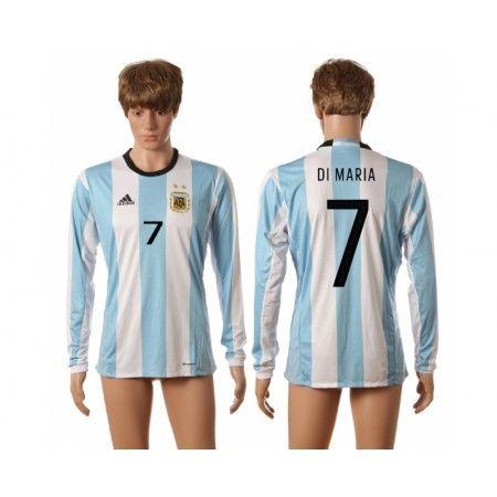 Argentina 2016 #Di Maria 7 Hjemmebanetrøje Lange ærmer,245,14KR,shirtshopservice@gmail.com