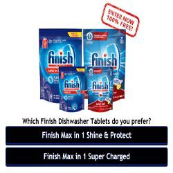 Here's How To Win Finish Dishwasher Tablets - The Finish Dishwasher tablets can clean baked-on grease and other tough stains. Finish is the ultimate dishwasher so try it now. Sign up here and enter the contest to win and test the new Finish Dishwasher Tablets for FREE! The registration process is quick and easy. Don't let this opportunity pass you by! Go over to this page now!