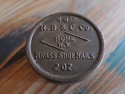 Vintage Advertising R.B.& C. Rome NY Metal Shoe Cobbler Nail Tin Can!