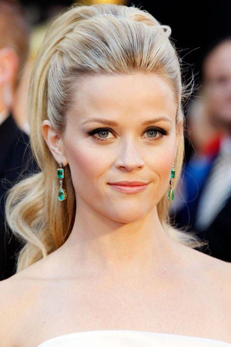 Red carpet hairstyle. Glamorous ponytail - Reese Witherspoon. Celebrity hairstyle.