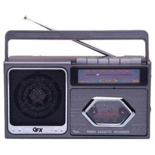 QFX J5SL AM/FM Cassette Recorder, Silver