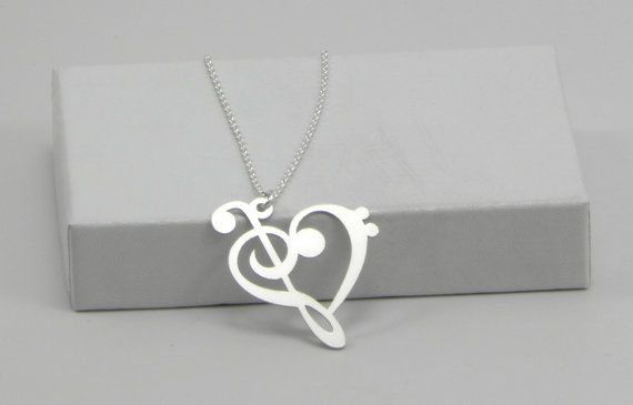 Music Note Necklace - Bass Clef and Treble Clef Heart - Sterling Silver
