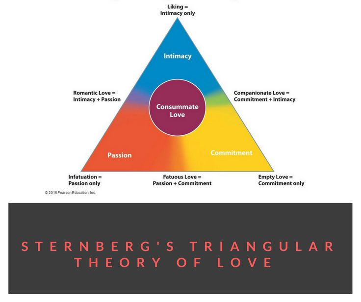 Infographic: Sternberg's Triangular Theory of Love source: MY Psychology post: https://www.facebook.com/mypsychologychannel/photos/a.714166948759336.1073741874.232166863626016/714182525424445/?type=3&permPage=1 ''The first component talks about ''intimacy.'' According to the theory, it is the feeling of attachment, closeness and connectedness. The second component is the passion, the firey depth and intense feeling you get when you like someone. It encompasses the drive connected to both…
