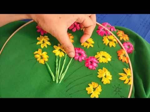 Ribbon Embroidery DIY cushion cover - YouTube