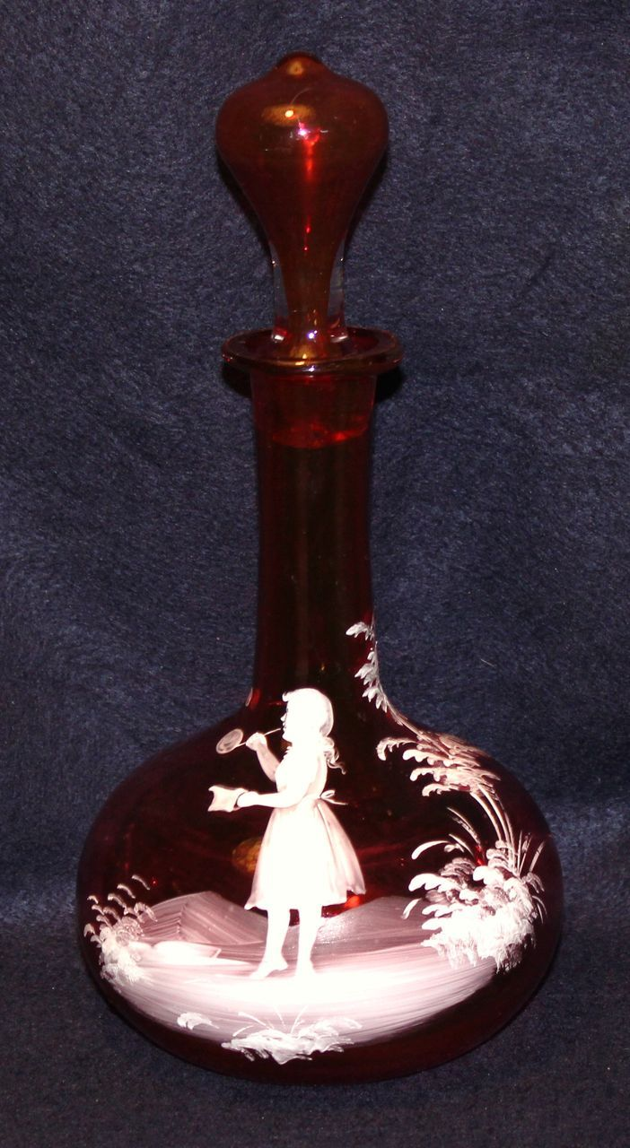 Mary Gregory Moser Art Glass Cranberry Decanter Vintage Amp Beautiful Things Cranberry Glass