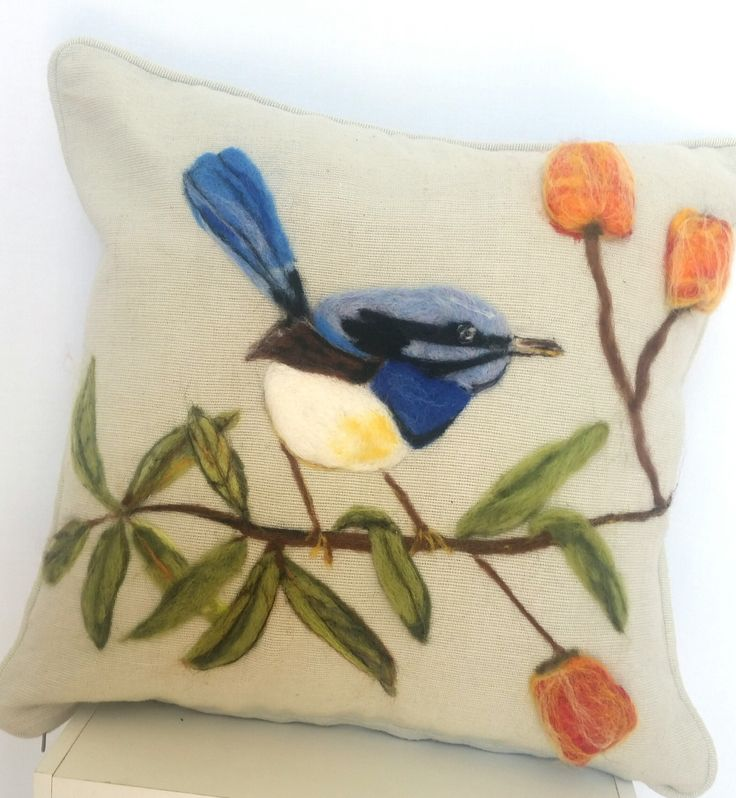 Buy Hand Felted Superb Wren Cushion from TheWoolRoom.com.au. Discover other alpaca, cashmere, merino wool & possum clothing | The Wool Room: Merino Wool & Natural Fibre Store