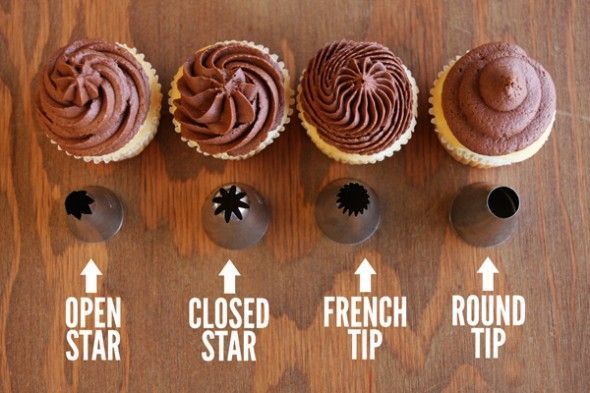 Step by step instructions on how to decorate cupcakes with four tips.  Video also included!: Baking Tips, Recipe, Sweet, Frosting Cupcake, Frost Cupcakes, Frosting Tips, Cake Decorating, Decorating Tips, Dessert