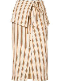 полосатая юбка с отворотом