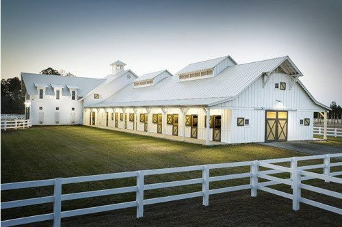 Luxury horse barn...but no white. love the grass around it