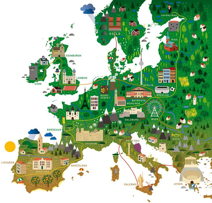 "Europe map Kultur Sommer 2012 - for ""Zeit Kultur Sommer"" (Human Empire Studio)"