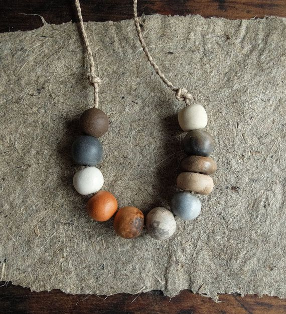 Ensemble de 11 perles uniques en céramique fait par CouleursDeTerre