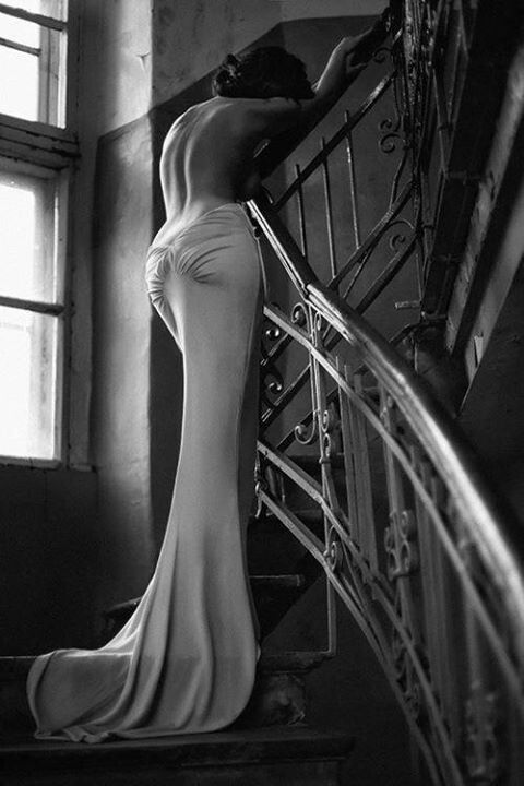 lovely, the whole of it, window, border paint, banister, girl and the gown.