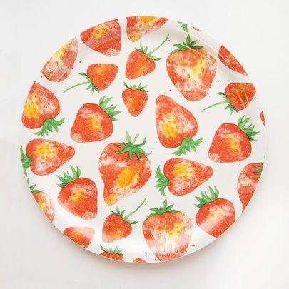 Mansikat-tarjotin, pieni I Small Strawberries tray I www.käpynen.fi
