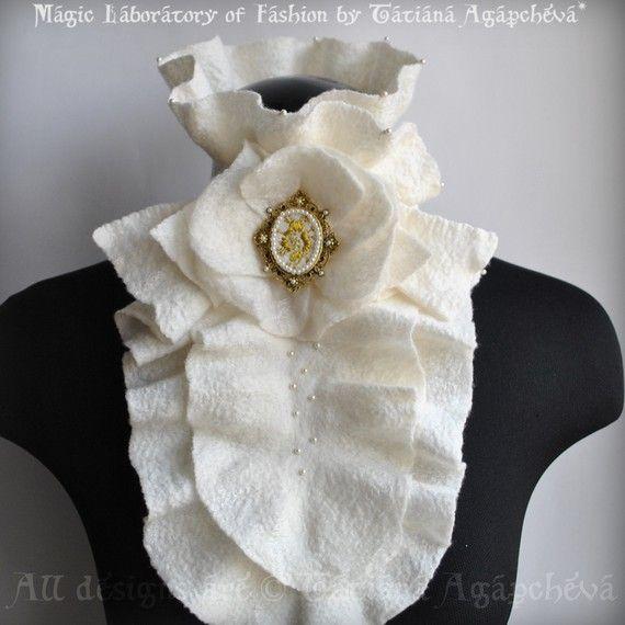 Scarf Bib Harness Jabot Clearance Fashion Felted Ivory by TianaCHE
